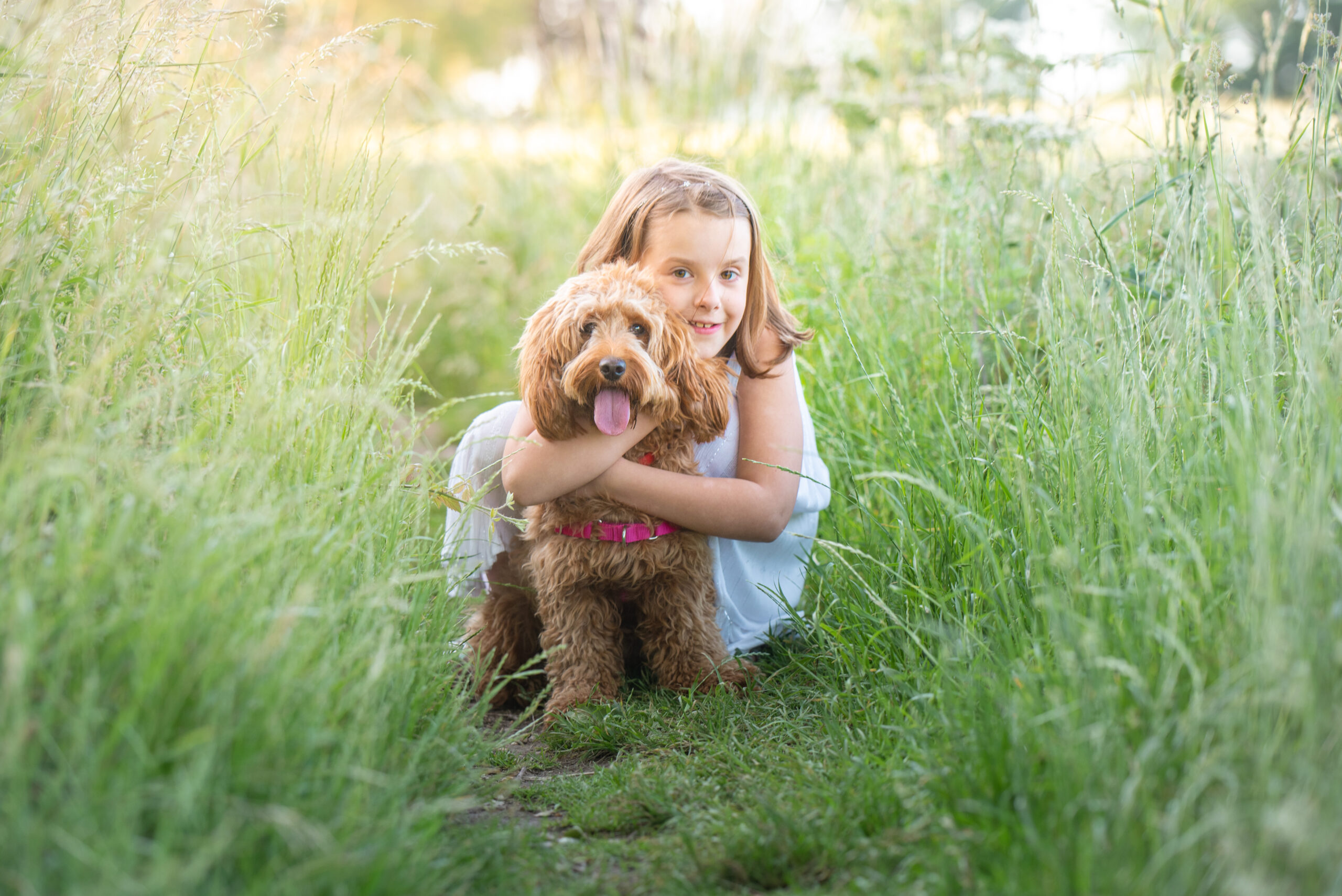 little girl with dog in long grass